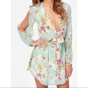Cotton Candy minty blue floral dress